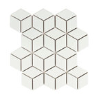 SomerTile Victorian Rhombus Porcelain Mosaic Floor and Wall Tile, Matte White