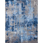 "Nourison - Nourison Prismatic Blue/Gray Area Rug, 9'9""x13'9"" - This enthralling collection of Prismatic area rugs from Nourison features daring, 3D-like designs, and captivating color palettes for an overall effect that is completely charismatic. Hand tufted from a sumptuous wool blend and woven with gently shimmering silk-like fibers, these radiant area rugs will enliven any outlook with their exciting energy."