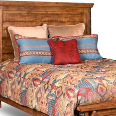 Sunset Trading Rustic City Queen Size Headboard, Industrial Metal Accents