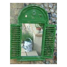 Garden mirror with distressed green wooden shutters