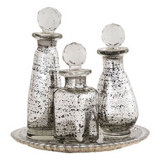 Daphne Tray and Bottle Set, Antique Silver