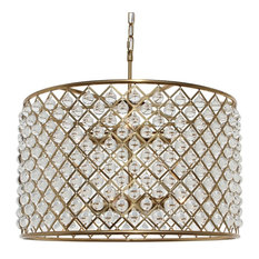 Cassiel Crystal Drum Chandelier, Brass Finish
