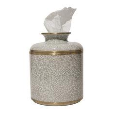 Crackle Round Tissue Box, White