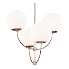 Carrie Four Light Chandelier - Polished Copper Finish - Opal Etched Glass
