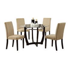 5 Piece Round Glass Top Dining Set, Chair Espresso
