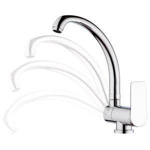 Infinity Chrome Plated One-Hole Sink Mixer Tap, Movable Spout, 29 cm