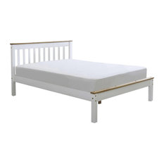 Derby Panel Bed, White and Natural, Small Double
