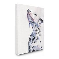 "Dalmatian Dog Pet Animal Watercolor Painting Canvas Wall Art, 30""x24"""