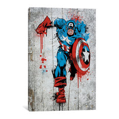 """Marvel Comic Book: Captain America Spray Paint"" by Marvel Comics, 18x12x0.75"""