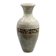 "HomeRoots Decor, 20"" Spun Bamboo Vase, Distressed White and Green"