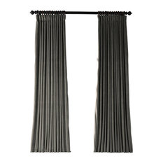 "Natural Gray Doublewide Blackout Velvet Curtain Single Panel, 100""x108"""