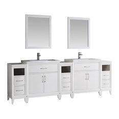 """Fresca Cambridge 96"""" White Double Sink, Bathroom Vanity With Mirrors"""