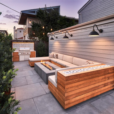 Inspiration for a small contemporary backyard stone patio remodel in San Diego with a fire pit and no cover