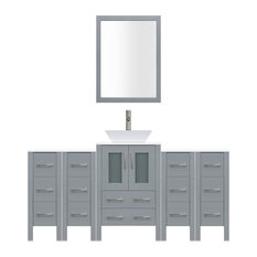 "78"" Modern Bathroom Vanity Set, Mirror and Sink LV2-C8-78-G, Gray"