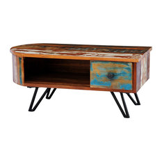 VidaXL   VidaXL Reclaimed Solid Wood Coffee Table With Iron Pin Legs   Coffee  Tables
