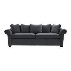 Sofamania   Classic Velvet Living Room Sofa Modern Couch With Nailhead Trim,  Dark Gray