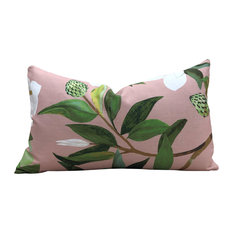 """Avery Floral Pillow Rose Pink. Lumbar Floral Pillow in Blush., 12""""x20"""", With Pil"""