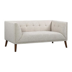 Hudson Mid-Century Button-Tufted Loveseat Beige Linen And Walnut Legs