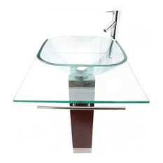 Tempered Glass Small Pedestal Sink with Chrome Faucet Towel Bar and Drain Combo