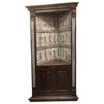Mogul Interior - Consigned Wood Corner Cabinet, Hand Carved - This rustic industrial corner cabinet handmade from reclaimed wood.