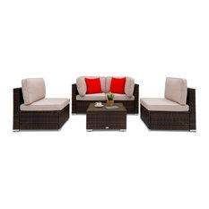 Allison 5-Piece Wicker Patio Conversation Sectional Seating Set