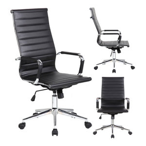 Designer Executive Ergonomic High Back Office Chair Ribbed PU Leather, Black