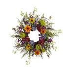 "24"" Spring Garden Wreath With Twig Base"