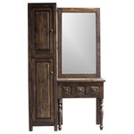 FoxDen Decor - Bridgette Rustic Vanity and Linen Combo, Espresso, 55x20x32 - Looking for an all-in-one solution for your bathroom? Look no further! The Bridgette Rustic vanity is the perfect addition for your bathroom with a built in mirror and linen cabinet. Store all of your towels and items in the linen cabinet while leaving the vanity uncluttered. This piece is perfect for small bathrooms looking for an upgrade.