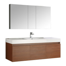 "Mezzo 60"" Teak Wall Hung Single Sink Modern Bathroom Vanity, FFT1030BN"