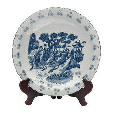 """14"""" Ladies Blue and White Porcelain Plate"""