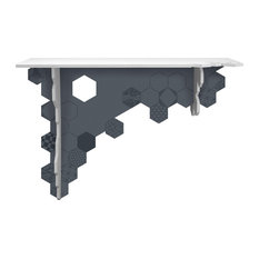 Hexagon Asymmetrical Wall-Mounted Console Table, White and Anthracite