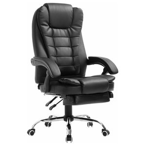 Modern Swivel Chair, Black Faux Leather With Padded Footrest and Armrest
