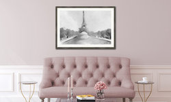 Blush Pink Living Room with Framed Black and White Eiffel Tower Paris Print