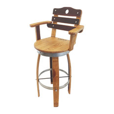 Swivel Top Wine Barrel Bar Stool With Stave Backrest 30-inch Sit Height Regular Le