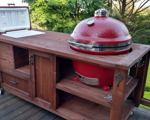 Grill Cabinets Mobile Outdoor Kitchens For Kamado Gas Grills - Patio table with built in grill
