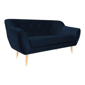 Amelie 2-Seat Sofa With Gold Feet, Dark Blue