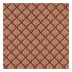 Red, Fan Patterned Woven Upholstery Fabric By The Yard