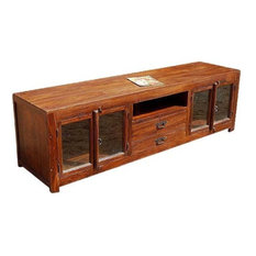 Sierra Living Concepts   Santa Fe Rustic Wood Media Storage With Glass Doors    Entertainment Centers