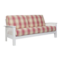 Maison Hill Mission Style Sofa With Exposed Wood Frame, Pink Plaid