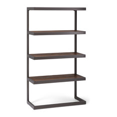 Erina Rustic Acacia Wood Bookcase With Metal Frame