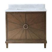 "Legion Furniture Tristan Vanity With Top, Antique Coffee, 31"", White Carrara"