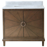 "Legion Furniture Tristan Vanity With Top, Antique Coffee, 31"", White Carrara"