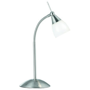 Exec Touch Table Lamp With White Glass, Satin Silver