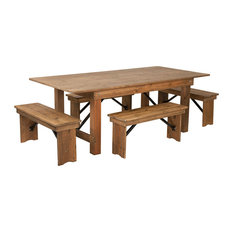 Offex 7'x40'' Antique Rustic Folding Farm Table And Four Bench Set