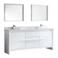 """Allier 72"""" Double Sink Bathroom Vanity, Mirror, Versa Brushed Nickel Faucet"""
