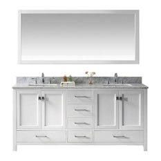 "Virtu Caroline Avenue 72"" Double Bathroom Vanity, White, Mirror"