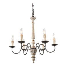 6-Light French Country Distressed Wood Chandelier, Rustic Pendant Lighting