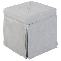 Sally Skirted Square Backless Vanity Seat, Grey