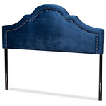 Wholesale Interiors - Rita Contemporary Navy Blue Velvet Fabric Upholstered King Size Headboard - Transform your room into a regal sanctuary with the Rita headboard. Constructed from MDF wood and LVL, the Rita is upholstered in a soft, foam filled velvet polyester fabric that provides ample comfort for you to lean against. Its arched silhouette, highlighted by glamorous silver nailheads, is a luxurious backdrop in any bedroom. Leg supports are invisible once set up and can be adjusted to suit the height of your ensemble, for convenience. The headboard sits between the wall and the ensemble frame, attaching not to the bed base but to the legs, for stability. The Rita headboard is made in Malaysia and requires assembly.