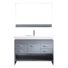 "Gloria 48"" Vanity, Gray, Polished Chrome, With Mirror"